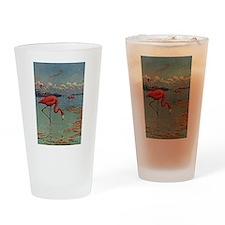 Flamingo Art Drinking Glass
