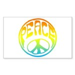 Peace - rainbow Sticker (Rectangle 50 pk)