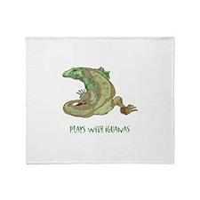 Plays With Iguanas Throw Blanket