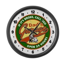 Dad's Garage Large Wall Clock