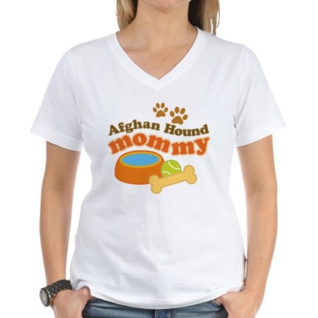 Afghan Hound Mommy Pet Gift Women's V-Neck T-Shirt