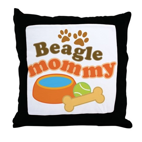 Beagle Mommy Pet Gift Throw Pillow