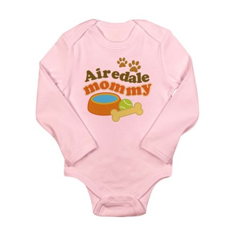 Airedale Mommy Pet Gift Long Sleeve Infant Bodysui