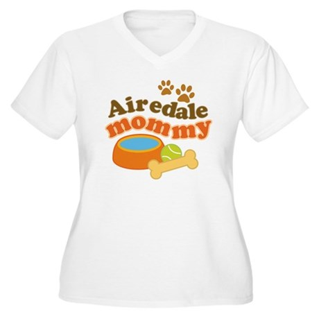 Airedale Mommy Pet Gift Women's Plus Size V-Neck T
