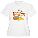 Bichon Frise Mommy Pet Gift Women's Plus Size V-Ne