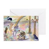 Cats waiting at Rainbow Bridg Greeting Cards (Pk o