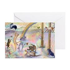 Cats waiting at Rainbow Bridg Greeting Cards (Pk o