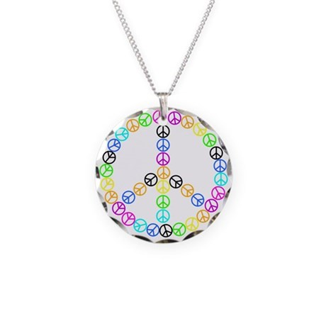 Peace Signs Necklace Circle Charm