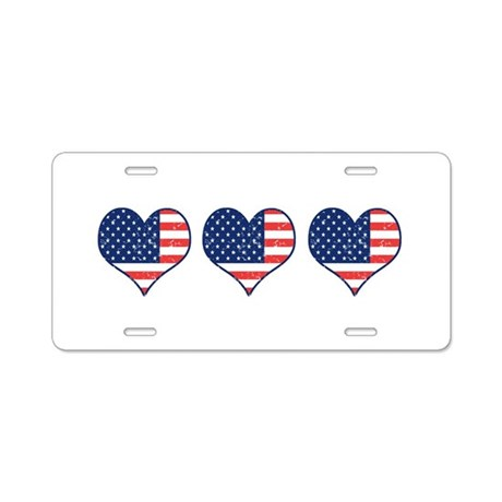 Little Patriotic Hearts Aluminum License Plate