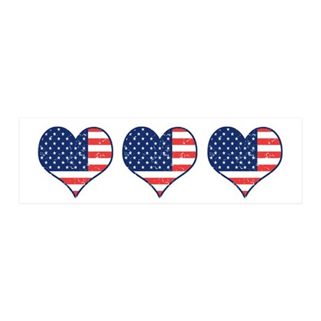 Little Patriotic Hearts 42x14 Wall Peel