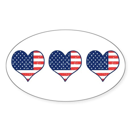 Little Patriotic Hearts Sticker (Oval 50 pk)
