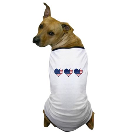 Little Patriotic Hearts Dog T-Shirt