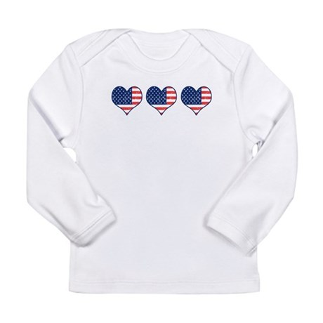 Little Patriotic Hearts Long Sleeve Infant T-Shirt