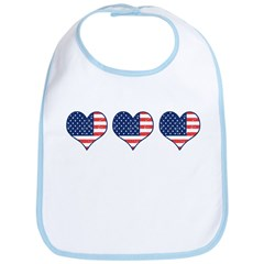 Little Patriotic Hearts Bib