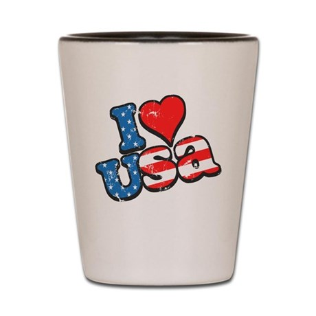 I Love USA Shot Glass