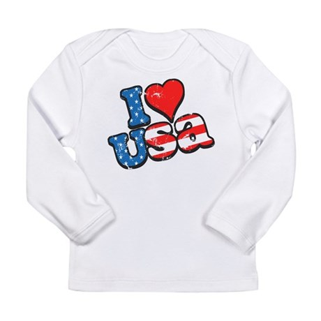 I Love USA Long Sleeve Infant T-Shirt