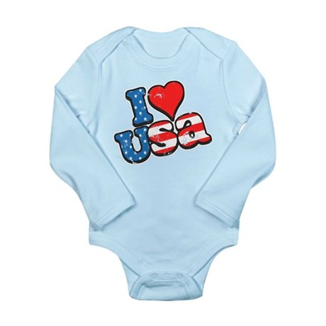 I Love USA Long Sleeve Infant Bodysuit
