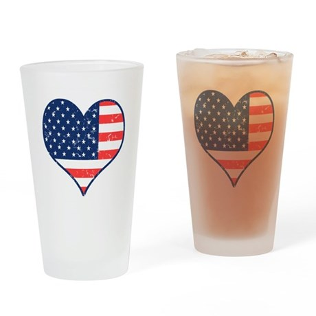 Patriotic Heart with Flag Pint Glass