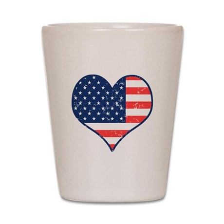 Patriotic Heart with Flag Shot Glass