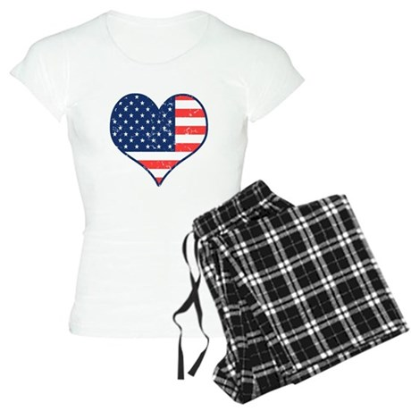 Patriotic Heart with Flag Women's Light Pajamas