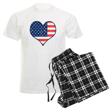 Patriotic Heart with Flag Men's Light Pajamas