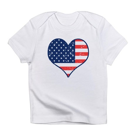 Patriotic Heart with Flag Infant T-Shirt