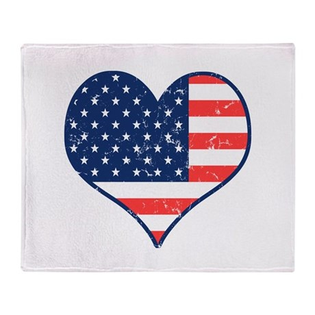 Patriotic Heart with Flag Stadium Blanket