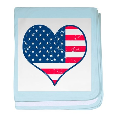 Patriotic Heart with Flag baby blanket