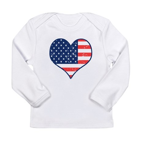 Patriotic Heart with Flag Long Sleeve Infant T-Shi