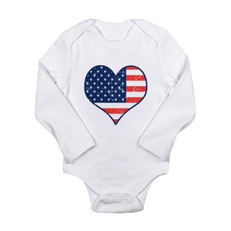 Patriotic Heart with Flag Long Sleeve Infant Bodys