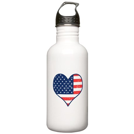 Patriotic Heart with Flag Stainless Water Bottle 1