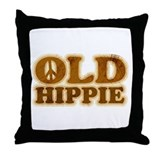 Old Hippie Peace Throw Pillow