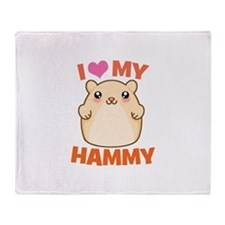 I Love My Hammy Throw Blanket