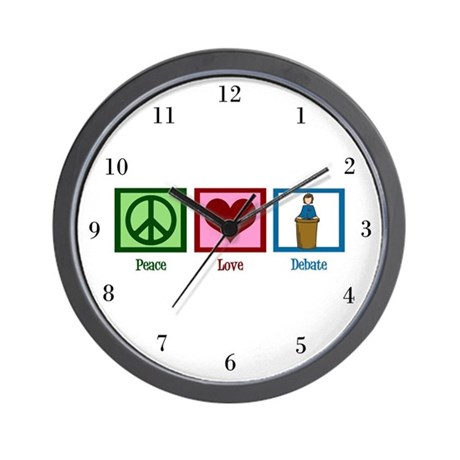 Peace Love Debate Wall Clock