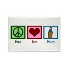 Peace Love Debate Rectangle Magnet