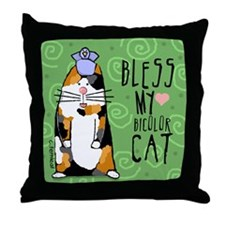 Bless My Calico Cat Throw Pillow