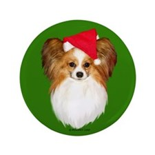 "Papillon Christmas 3.5"" Button"