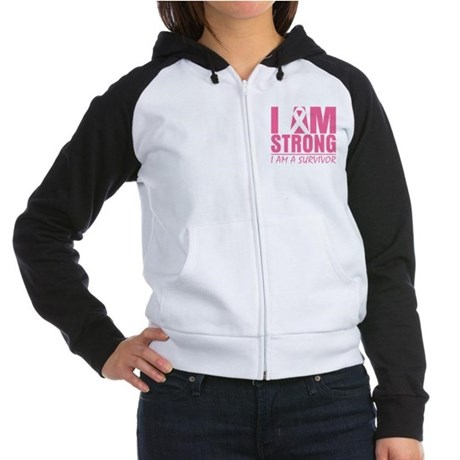 I am Strong Breast Cancer Women's Raglan Hoodie