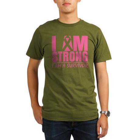 I am Strong Breast Cancer Organic Men's T-Shirt (d