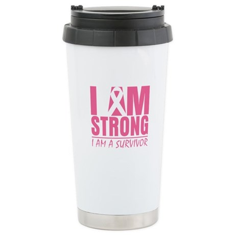 I am Strong Breast Cancer Ceramic Travel Mug