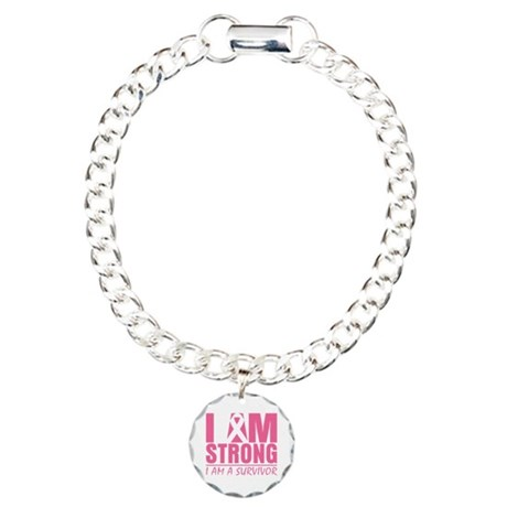I am Strong Breast Cancer Charm Bracelet, One Char