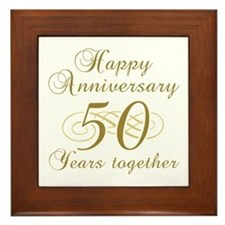 Stylish 50th Anniversary Framed Tile