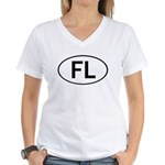 FLORIDA OVAL STICKERS AND MOR Women's V-Neck T-Shi