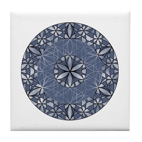 Sacred Geometry in Blue Tile Coaster