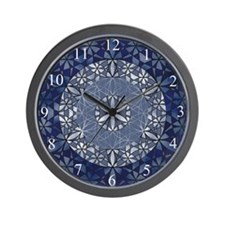 Sacred Geometry in Blue Wall Clock
