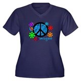 Retro Vintage 70's Women's Plus Size V-Neck Dark T