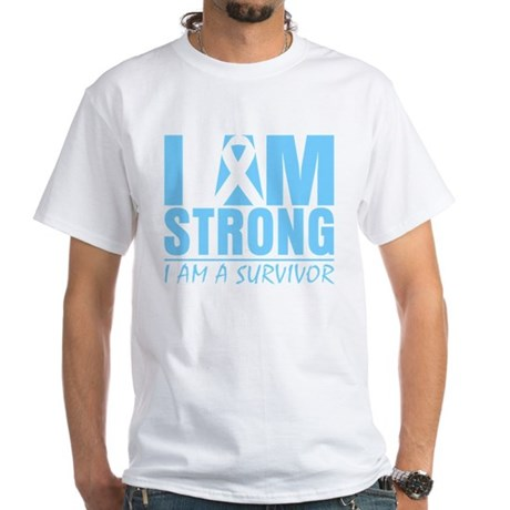 I am Strong Prostate Cancer White T-Shirt