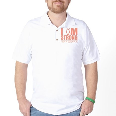 I am Strong Uterine Cancer Golf Shirt