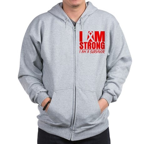 I am Strong Heart Disease Zip Hoodie