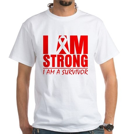 I am Strong Heart Disease White T-Shirt